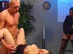 Sexy brunette Eva is swallowing loads of cum