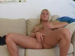 Teen blonde Josephine pokes her pussy
