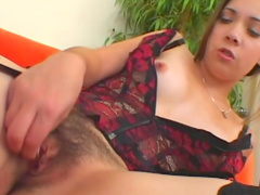 Lingerie is sexy on hairy box girl