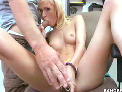 Petite girl takes monster cock
