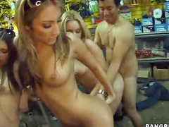 Bike shop orgy with sluts