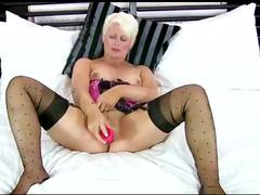 Marvelous lingerie on masturbating milf