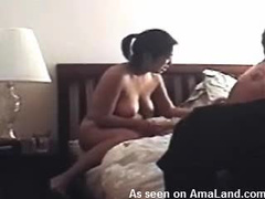Blowjob amateur sits on shaft