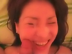 Asian girlfriend receives his load