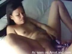 Asian lesbian dildo penetration sex