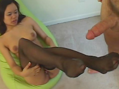 Lustful Asian babe gets screwed in sexy black stockings