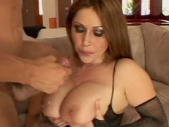 Busty Kianna Dior in black stockings is here to show her excellent skills
