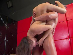Wanton Annie Cruz is showing how to do nonstop blowjob
