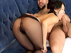 Asian in black pantyhose fucked hard