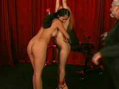 Asians in bondage made to eat pussy