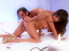Kaylani Lei being banged in her shaved pussy