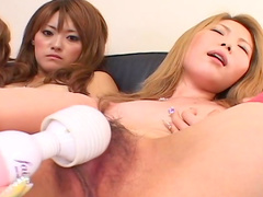Karin Fujita and Moe Yazawa are playing with vibrator