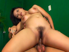 Nasty brunette is demonstrating her blowjob skills