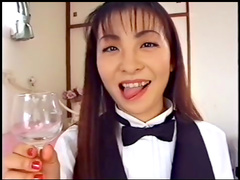 Alluring redhead Japanese babe is swallowing cocktail of cum
