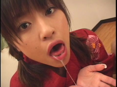 Nasty brunette from Japan swallows tasty cum