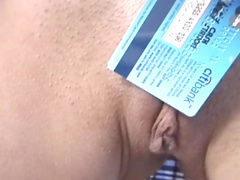 Nasty busty babe is peeing in the metal plate