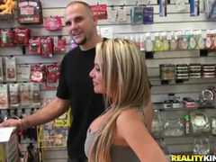Flashing tits at porn store