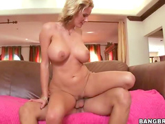 Curvy blonde cock riding mom
