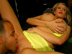 Big titted blonde swallows cum after hardcore group sex