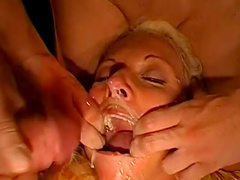 Slutty chicks get ass fucked and receive a bukkake