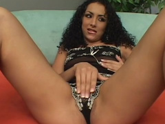 Two fuckers are banging with curly-haired brunette
