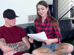 Riley Reid gives a deep blowjob for that hard prick