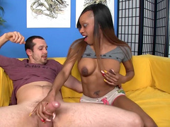 Interracial handjob and cum scene by busty Ebony girlfriend