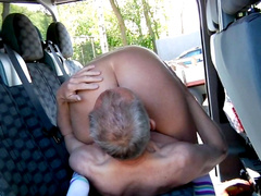 Charming Sophie making a blowjob for an old guy
