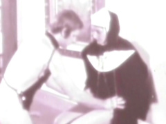 Brunette nun is giving a deep blowjob