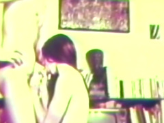 Hot hardcore retro scene with brunette