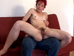 Redhead milf gets her hairy pussy nailed by an old man
