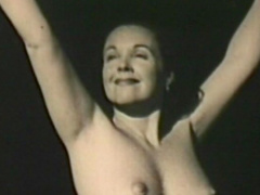 Retro undressing scene with sexy mom