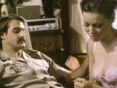 Retro sex scene with handsome man and his cocksucker