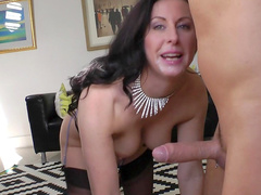 American brunette Jamie is sucking a cock