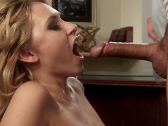 Curly-haired blonde being fucked in her mouth