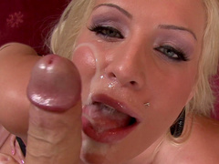 Amateur blonde Sadie Swede gets big dick in mouth