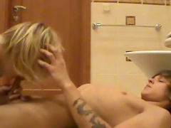 Sucking cock in the bathroom