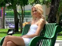 Gorgeous blonde vegetable sex