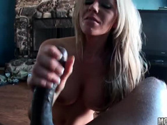 Black POV sex with busty blonde
