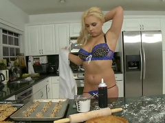 Curvy girl uses rolling pin