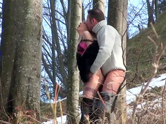 Outdoor sex on cold day