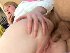 Pierced tongue schoolgirl anally plowed