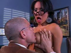 Asa Akira fucks with Mick Blue in the cabinet