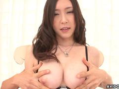 Asian model Kotone Amemiya being filled with cum