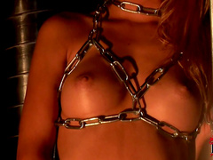Slender babe Cindy Hope is getting bra that is made from chains