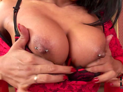 Tanned busty babe Yoha sucks her long fingers