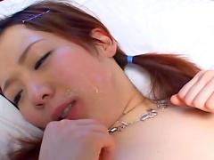Asian babe gets facial load after blowjob