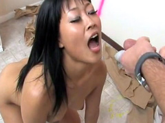 Bonny asian with small tits gets a facial