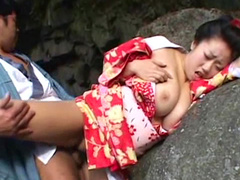 Pretty Asian with big tits fuck outdoors