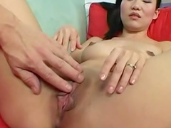 Asian chick is riding on the horny dick